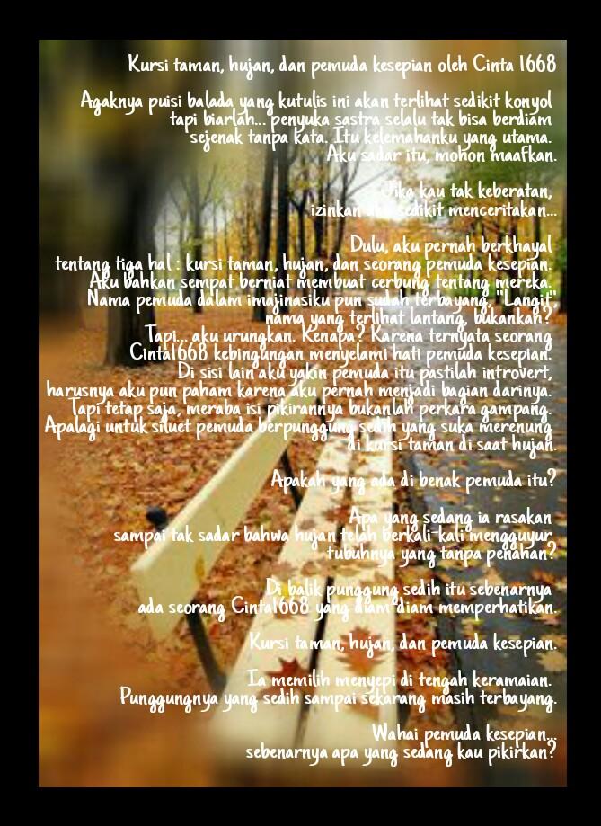 Puisi Balada : kursi taman, hujan, dan pemuda kesepian